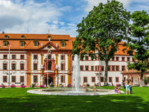 Hirsch Park and Former Governors Residence in Erfurt, Germany. Former Governors Residence and fountain in Hirsch Park in Erfurt, Thuringen, Germany Royalty Free Stock Image