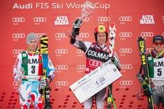 HIRSCHER Marcel -  PINTURAULT Alexis  -  LIGETY Ted. Alta Badia, ITALY 22 December 2013. HIRSCHER Marcel (AUT) winner, 2nd PINTURAULT Alexis (FRA) and LIGETY Ted Royalty Free Stock Photo