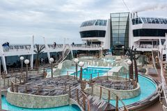 Swimming pool on the MSC Fantasia Royalty Free Stock Photos