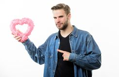 From his beloved. Valentines day party. Love and romance. Man with decorative heart. Date. Romantic greeting. Valentines. Day sales. unshaved man isolated on royalty free stock photography