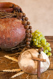 His bread and wine Stock Photography