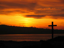 His Cross. The Cross at Sunset, Monterey Bay, California stock image