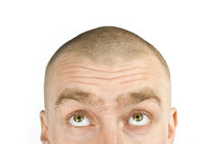 His eyes went up in dispair. Hairless isolated man with green eyes on white background Royalty Free Stock Images