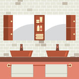 His And Her Sink With Mirrors Royalty Free Stock Photo