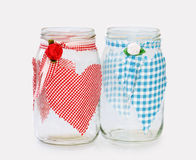 'His and Hers' - two glass jars handecorated Stock Photography