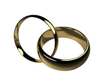 His and Hers Wedding Bands - Isolated. A set of his and hers wedding bands, isolated on a white background Stock Photos