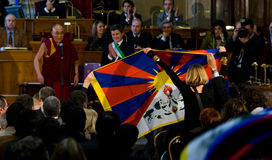 His Holiness Dalai Lama. Get the citizenship ab honorem from Gianni Alemanni, mayor city of Rome on February 9, 2009 in Rome, Italy Stock Photo