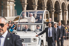 His Holiness Pope Francis meets the pilgrims in Milan, Italy Stock Image