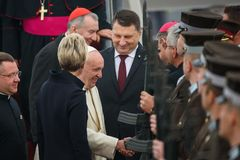 His Holiness Pope Francis and Raimonds Vejonis, President of Latvia stock image
