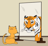 His Inner Tiger. An ordinary house cat sees himself as a huge fierce tiger Royalty Free Stock Image