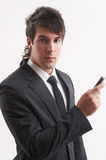 He and his mobile phone Royalty Free Stock Images