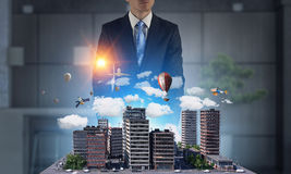 His new development project    . Mixed media Royalty Free Stock Images
