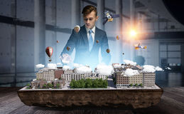 His new development project . Mixed media Royalty Free Stock Image
