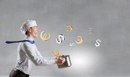 His recipe of money earning. Mixed media Stock Photography