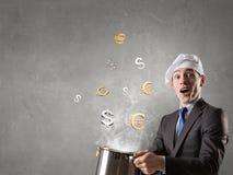 His recipe of money earning. Mixed media Royalty Free Stock Image