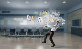 His recipe of money earning. Mixed media Royalty Free Stock Images