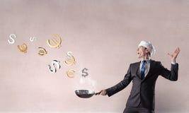 His recipe of money earning. Mixed media Royalty Free Stock Photo