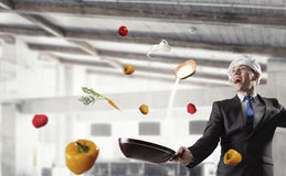 His recipe of success . Mixed media Royalty Free Stock Images