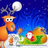 his reindeer santa sleigh Στοκ Φωτογραφίες