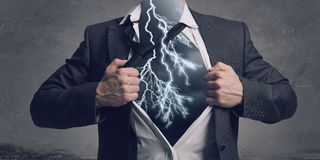 His super abilities. Mixed media Royalty Free Stock Image