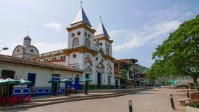 Small Church at Hispania, Antioquia, Clombia stock photo