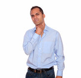 Hispanic adult man with throat pain Royalty Free Stock Photography