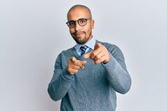 Free Hispanic Adult Man Wearing Glasses And Business Style Pointing Fingers To Camera With Happy And Funny Face Royalty Free Stock Photos - 212087018