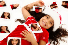 Hispanic African American Child Christmas Portrait royalty free stock photography