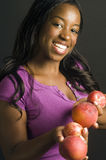 Hispanic african american woman fresh fruit Royalty Free Stock Image