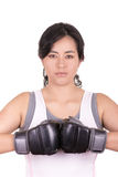 Hispanic aggressive woman with boxing gloves Royalty Free Stock Image