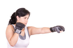 Hispanic aggressive woman with boxing gloves Royalty Free Stock Photography
