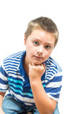 Hispanic-American Child Rests Chin On Hand During Picture. Hispanic-American Child Rests Chin On Hand Stock Photos