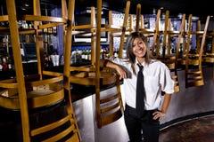Hispanic bartender at closed bar royalty free stock images