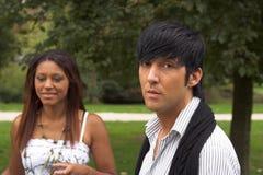 Hispanic boy with black girl royalty free stock image