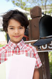 Hispanic Boy Checking Mailbox Stock Photos