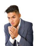 Hispanic boy desperation. Hispanic man expression in white background Royalty Free Stock Image