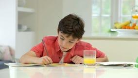 Hispanic Boy Doing Homework On Kitchen Counter stock footage