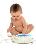 Hispanic Boy Eating Birthday Cake Royalty Free Stock Image