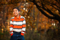 Hispanic Boy in Forest Preserve Royalty Free Stock Photos