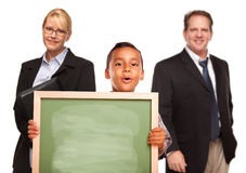 Hispanic Boy Holding Chalk Board with Teachers Stock Photos