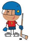Hispanic boy playing a hockey. Little hispanic boy playing a hockey goalie Royalty Free Stock Photo