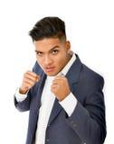 Hispanic boy ready for fight Stock Photography