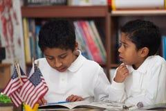 Hispanic Boys in Home-school Studying Rocks Royalty Free Stock Photography