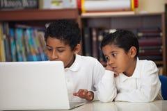 Hispanic Boys with Laptop Royalty Free Stock Image