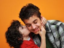 Hispanic Brother's Affection. Royalty Free Stock Photos