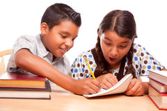 Hispanic Brother and Sister Having Fun Studying Stock Photos