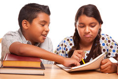 Hispanic Brother and Sister Having Fun Studying Stock Images