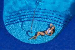 Hispanic Brunette Model At The Pool Stock Images