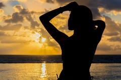 Hispanic Brunette Model At Sunrise Stock Photos