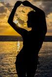 Hispanic Brunette Model At Sunrise Royalty Free Stock Images